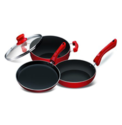 Globe Magma 3 piece induction gift set(Kadhai, Fast Pan & Flat tawa)