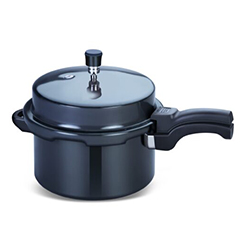 Globe Outer Lid Hard Anodised Aluminium Eagle Pressure Cooker, Black